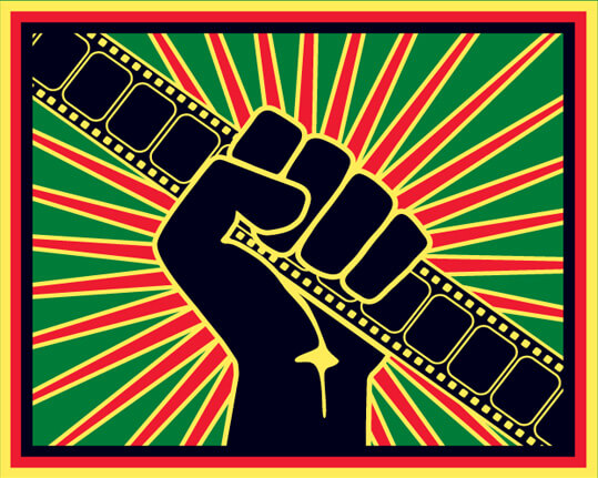 Illustration of a black fist holding a piece of film over a starburst background